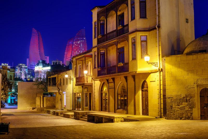 Baku Old Town and Flame Towers at night, Azerbaijan
